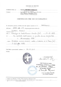 Certidão de casamento de Angelo Dametto e Luigia Angela Robazza.