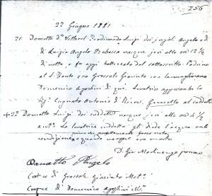 Registro de nascimento de Ferdinando Dametto.