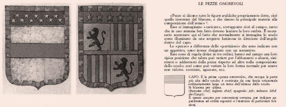 Imagens do livro Costruzione, linguaggio e lettura dello stemma, a cura di Marcello del Piazzo, págs. 497 e 523.
