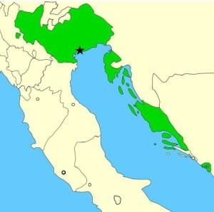 Mapa da República de Veneza (área verde) em 1796.