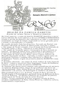 Significado do Brasão e origem do sobrenome DAMETTO.