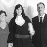 Adriana com os pais, Nair Favretto e Sadi Divino Dametto.