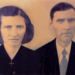Carmelinda Parisotto e Victor Dametto. Retrato pintado a partir de fotos de c. 1945.