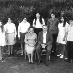 Família de Francisco Dametto e Tercilla Cauzzi Dametto (sentados). Atrás: Madalena Maria, Lídia Terezinha, Silene Maria, Ema Cecília, Germano Ângelo, Irma Metilde e Justino Mário.