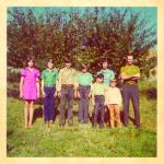José Dametto e Maria Anália Gasparini Dametto com filha e filhos: Sirlei, Agostinho, Ivaldo, Odacir, Ivanor e Leandro.