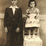 Lírio Dametto (10 anos, antes de ir ao Colégio Marista) e Teresinha Riedi.