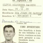 Olívio Silvestre Dametto - cartão de aposentado.