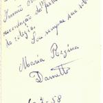 Maria Regina Dametto – dedicatória ao tio Lírio Dametto, então irmão Artêmio (marista).