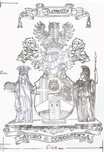 Brasão da Família Dametto - esboço inicial. Desenhado pelo heraldista brasileiro Renato Moreira Gomes.