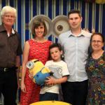 Telmo Dametto, Sidiane Sbeghen e Jairo Gustavo Dametto com o filho Augusto, e Amélia Maria Scariot Dametto.