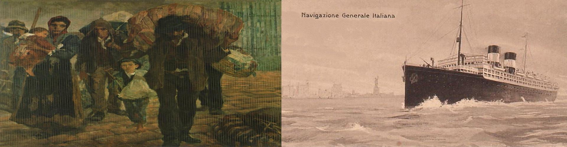 """Montagem: quadro """"Os imigrantes"""", de Antonio Rocco (1910), e navio italiano."""