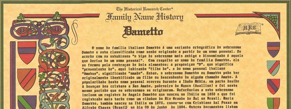 """""""Family Name History"""". Certidão emitida pelo Historical Research Center (Kissimmee, Flórida, EUA)."""