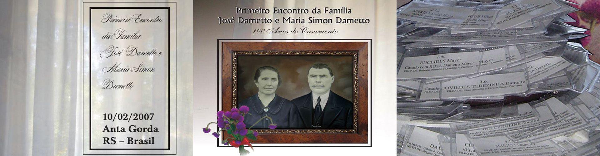 Convite e crachás do Primeiro Encontro da Família Dametto.