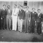 Francisco e Victor Dametto no meio de amigos na Linha Quarta, Anta Gorda - RS.