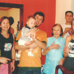Da esquerda para a direita: Claudir Andreta, Maria Helena Stefani Andreta, genro Marco Antonio Kiel e neto Isaú, Adelina Anciliero Stefani (viúva de Olívio Stefani), Fabiane Stefani Kiel, atrás: genro Felipe Gisleni.