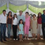Casal Adilar Arcari e Ivani Rebelatto, Leda Arcari, Pe. Miguel Dametto e menina Raquel Taísa Arcari, Gema Dametto, Célia Maria de Oliveira, kátia e Davi de Oliveira Dametto.