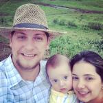 Rodrigo Dametto e Andrea Vieira Darold com o filho Leonardo - Estância Ramonita.